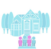 Loving Family Portrait Dream House Illustration. Home sweet home family illustration, a family posing for photograph in front of a house Stock Photography