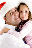 Loving father hugging his daughter. Loving father hugging his adorable daughter isolated on white background Royalty Free Stock Photos