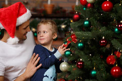 Loving father, son near tree Royalty Free Stock Photo