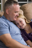 Loving father spending time with his daughter at home. Royalty Free Stock Image