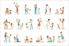 Loving Fathers Playing And Enjoying Good Quality Daddy Time With Their Happy Children Set Of Cartoon Illustrations Stock Photo
