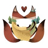 Loving foxes. Happy Valentine`s day postcard. stock illustration