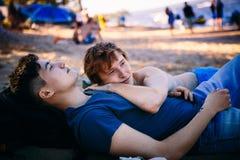 Loving gay couple stock photos