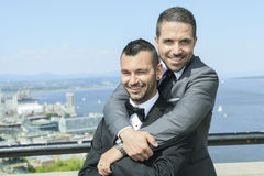 Loving gay male couple on their wedding day Royalty Free Stock Photography