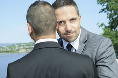 Loving gay male couple on their wedding day Stock Photography