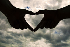 Loving gesture silhouette Royalty Free Stock Photo