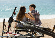 Loving girl and her boyfriend Stock Images