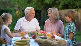 Loving grandchildren visiting grandparents, happy senior couple admiring kids. Stock footage stock video footage