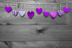 Loving Greeting Card With Purple Hearts, Copy Space royalty free stock photos