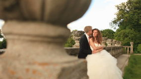 Loving groom holding his beautiful bride on green lawn near old stone balustrade and kisses her hair stock footage