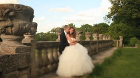 Loving groom kisses his beautiful bride in neck, embracing near old stone balustrade at park stock footage