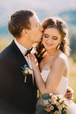 Loving groom kissing bride's forehead on the meadow with mountain background, close-up Stock Image