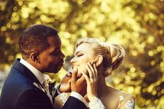 Loving groom touches face of adorable bride. Loving groom or african American men gently touches face of pretty girl or adorable bride with beautiful make up and royalty free stock images