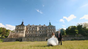 Loving groom walks with beautiful bride on green lawn near old castle. Magnificent blue sky with small clouds as stock video footage