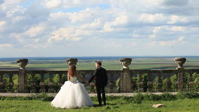 Loving groom walks with beautiful bride on green lawn near old stone balustrade. Magnificent blue sky with large clouds stock footage