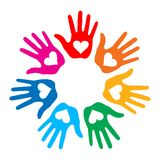 Loving Hand Print icon 7 colors Stock Image