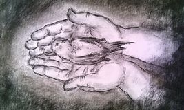 LOVING HANDS. Hand drawn carbon technique. We all are in the Loving Hands of God Royalty Free Stock Images