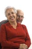 Loving, handsome senior couple. Handsome senior couple on a white background Stock Image