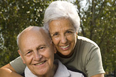 Loving, handsome senior couple. Relaxing in the park Stock Photography