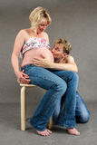 Loving happy couple pregnant woman with her husband Stock Images