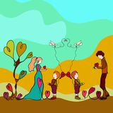 Loving happy family and nature, drawing one long line.  Stock Images