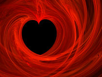 Loving heart. Valentines abstract heart shape, red passion on black background Stock Photos