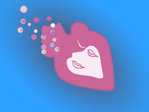Loving heart floats like fish in the ocean of love. Royalty Free Stock Photo