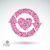 Loving heart floral illustration with update arrows, beautiful r Royalty Free Stock Photography