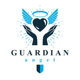 Loving heart in human hands, giving aid metaphor. Holy spirit gr. Aphic vector logo best for use in charity organizations Royalty Free Stock Photo
