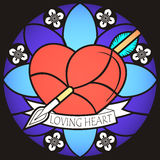 Loving Heart, stained glass style. Royalty Free Stock Photo