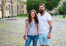Loving heart is truest wisdom. Couple relaxing enjoying each other. Man bearded hipster and pretty woman in love. Summer. Loving heart is truest wisdom. Couple royalty free stock photography