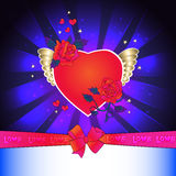 Loving heart on the wings with roses Royalty Free Stock Photography
