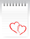 Loving hearts notepad design illustration Royalty Free Stock Photo