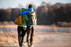 Loving Hiker Couple on Trail stock image