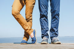 Loving hipster couple have fun on the beach Royalty Free Stock Photo