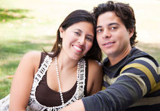 Loving Hispanic Couple Portrait Outdoors. Attractive Hispanic Couple Portrait Enjoying Each Other Outdoors Royalty Free Stock Images