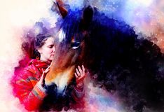 Loving horse and a girl, girl hugging a horse. Portrait woman and horse and softly blurred watercolor background. Loving horse and a girl, girl hugging a horse stock illustration