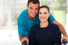 Husband disabled wife. Loving husband and disabled wife closeup portrait Stock Photos