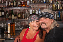 Loving Husband and Wife in Bandannas Stock Image