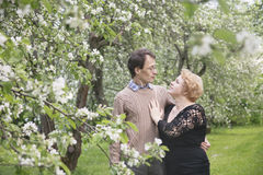 Loving husband and wife in blooming apple trees garden. Royalty Free Stock Photos
