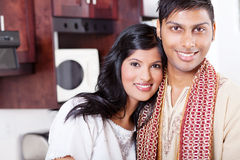 Loving indian couple. Closeup portrait of young loving indian couple hugging Royalty Free Stock Photos