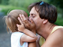 Loving interaction between father and son Royalty Free Stock Photos