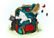 Kittens play with butterflies. Loving kittens, in a backpack, play with butterflies Stock Photo