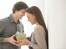 Loving Man Giving Birthday Gift To Woman. Loving young men giving birthday gift to women at home Stock Images