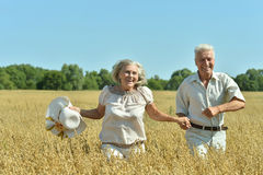 Loving mature couple in field Stock Images