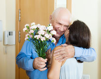 Loving mature couple at home Royalty Free Stock Photo