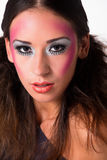 Loving mixed raced girl with extreme make-up stock photo