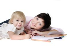 Loving Mother And Daughter Over White Stock Photography