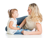Loving Mother And Her Child On White Background Royalty Free Stock Image