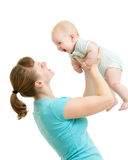 Loving mother with baby boy isolated Stock Images